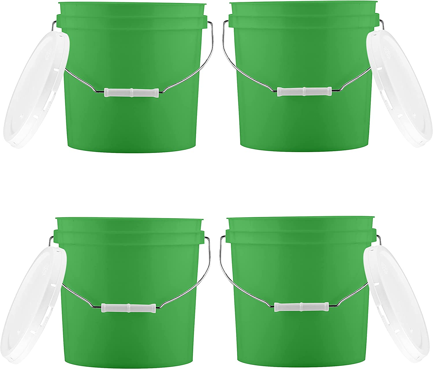 House Naturals 2 Gallon Green Buckets pails with Lids - Food Grade - BPA Free -( Pack of 4 ) Made in USA
