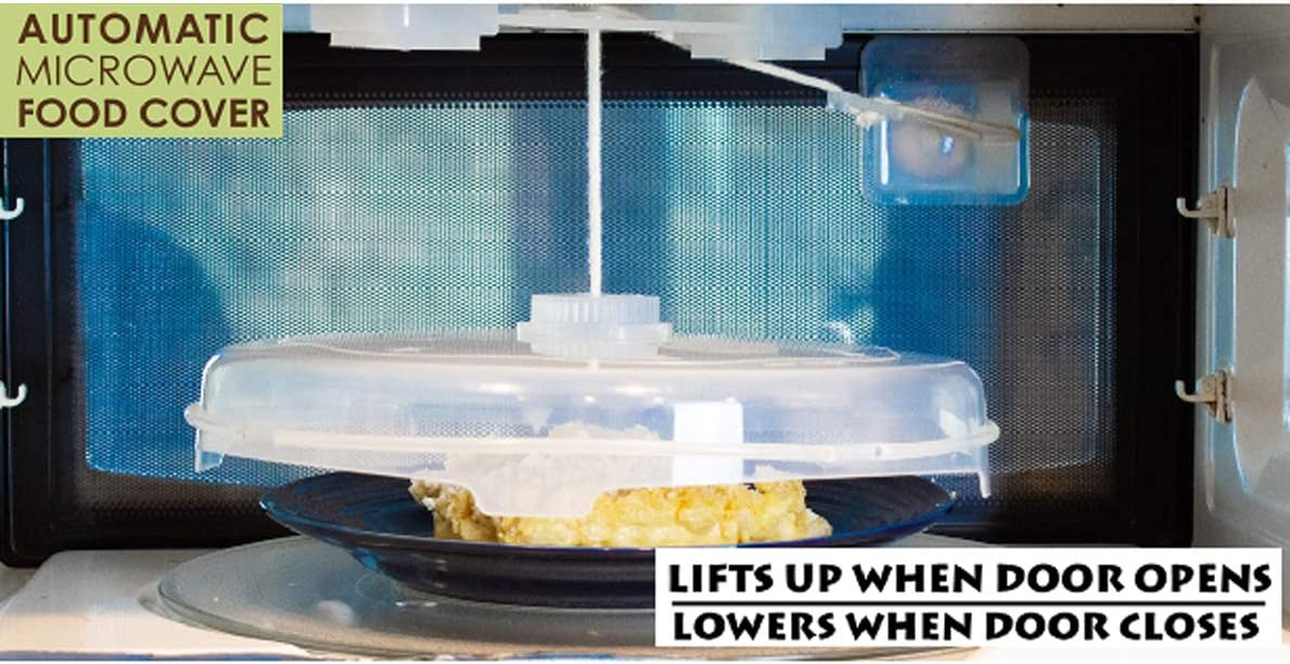 NewFerU Automatic Microwave Plate Cover Magnetic, Stays Inside Up Down, Hover Function Food Spatter Dome, Vented Anti Splatter Guard Lid with Steam Vents Magnets, 12 Inch BPA Free Dishwasher Safe