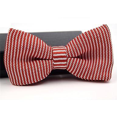 Huyizhi Hombres rojos y blancos que hacen punto la corbata de lazo ...