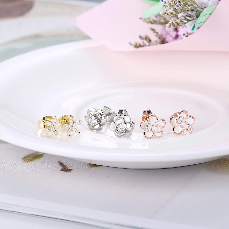 Subiceto 3 Pairs Stainless Steel Flower Stud Earrings for Women Girls Cute Children Cubic Zirconia Earrings Set