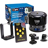 Vidpro MH-300 360-Degree Time-Lapse Photography Motorized Pan Head with Remote Control, Mini Tilt Head, Smartphone Holder & Adapter for GoPro Cameras