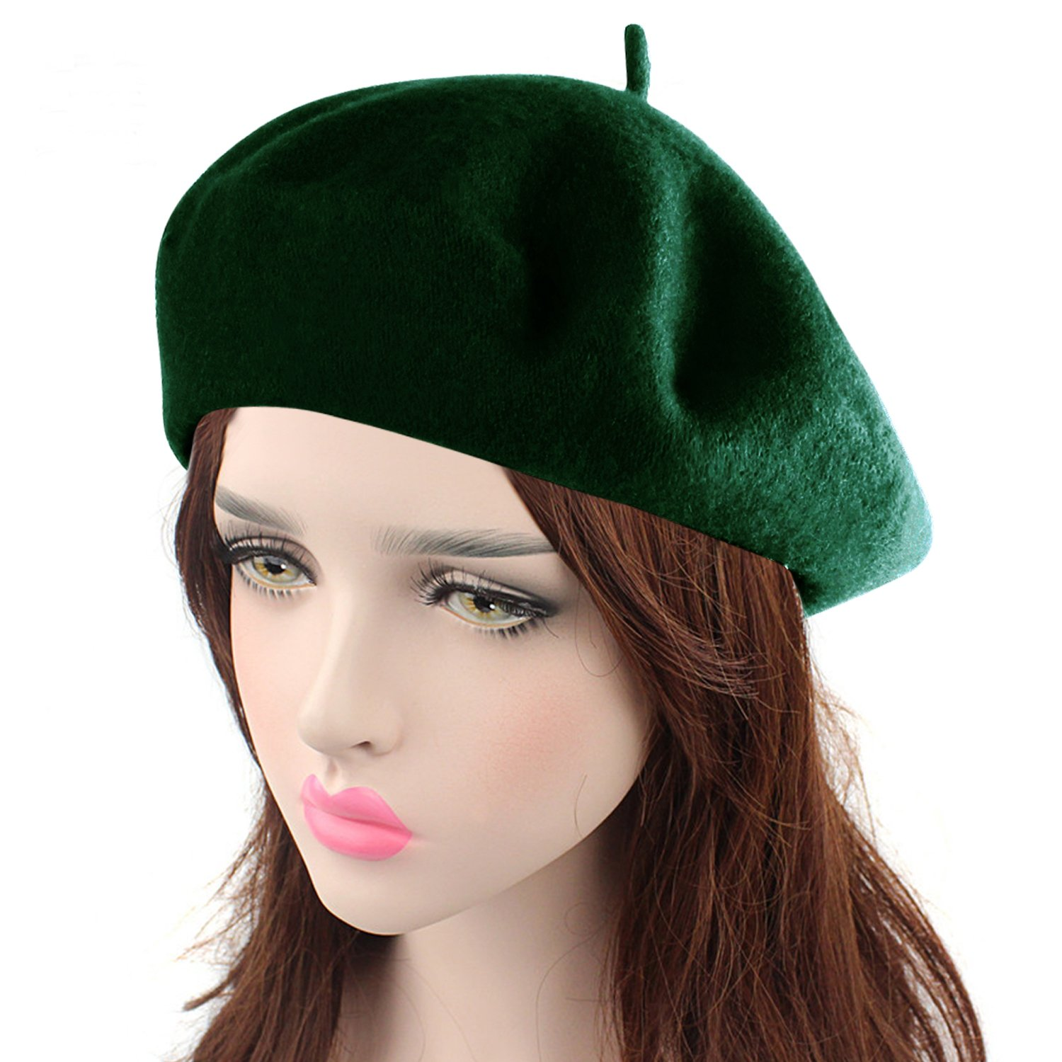 HowYouth Vintage 1940s French Style Classic Solid Color Art Wool Beret Beanie Hat Unisex Cap (Dark Green)