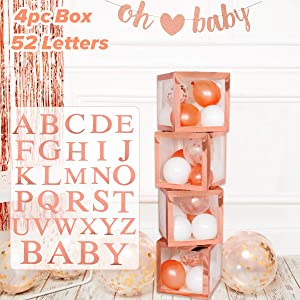 Baby Shower Birthday Decorations Girl – 4pcs Rose Gold Balloon Boxes with A-Z Letters, Party Boxes Block for Bride Shower, DIY Name Boxes, Wedding Supplies, Birthday Decoration Boxes
