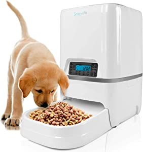 SereneLife Automatic Pet Feeder - Electronic Digital Dry Food Storage Meal Dispenser with Built-in Microphone, Voice Recorder, and Timer Programmable to Feed Cat and Dog and Small Animals SLAPF18