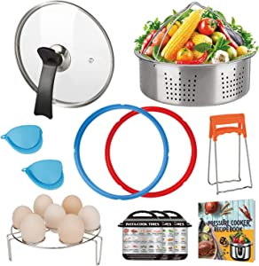 Accessories Set Compatible with Instant Pot 6 QT, with Tempered Glass Lid Sealing Rings and Steamer Basket for Instapot 6 Quart