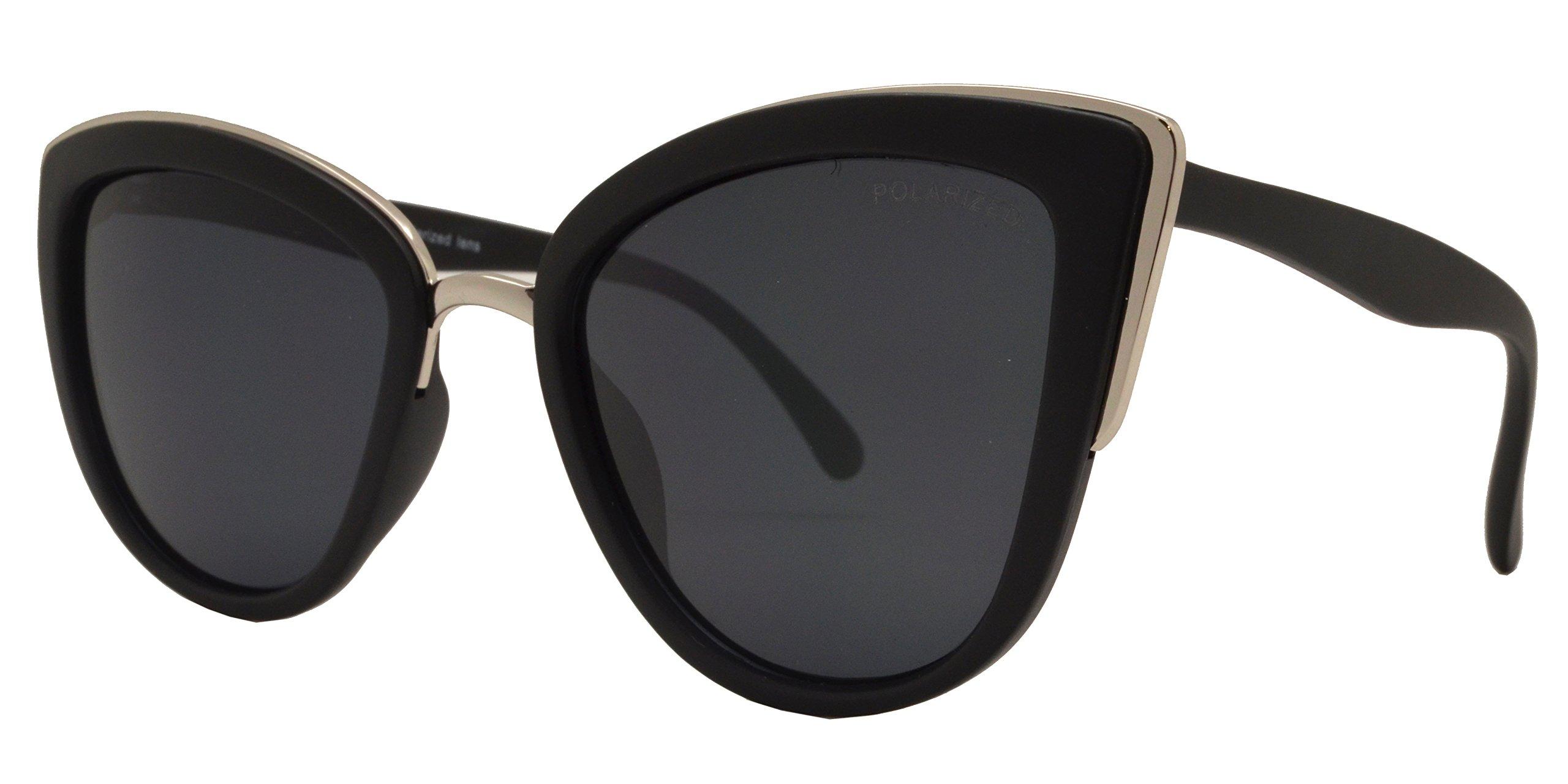 PZ Polarized - Women Cat Eye Metal Bridge Design Sunglasses (Blk-Silver/Solid Lens)