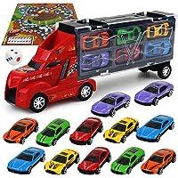 SAKYO Camión transportador, Coches Juguete para Niños, Un Total 12 Coches, Maletín portacoches - 6 Colores, Cada uno Color Tiene Dos Coches, Camión transportador para Varios