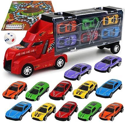 SAKYO Camión transportador, Coches Juguete para Niños, Un Total 12 Coches, Maletín portacoches