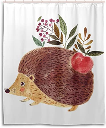 60 X 70 Inch Cute Little Hedgehog Shower Curtain Polyester Fabric Waterproof Bathroom Decor Set Washable with 12 Hooks