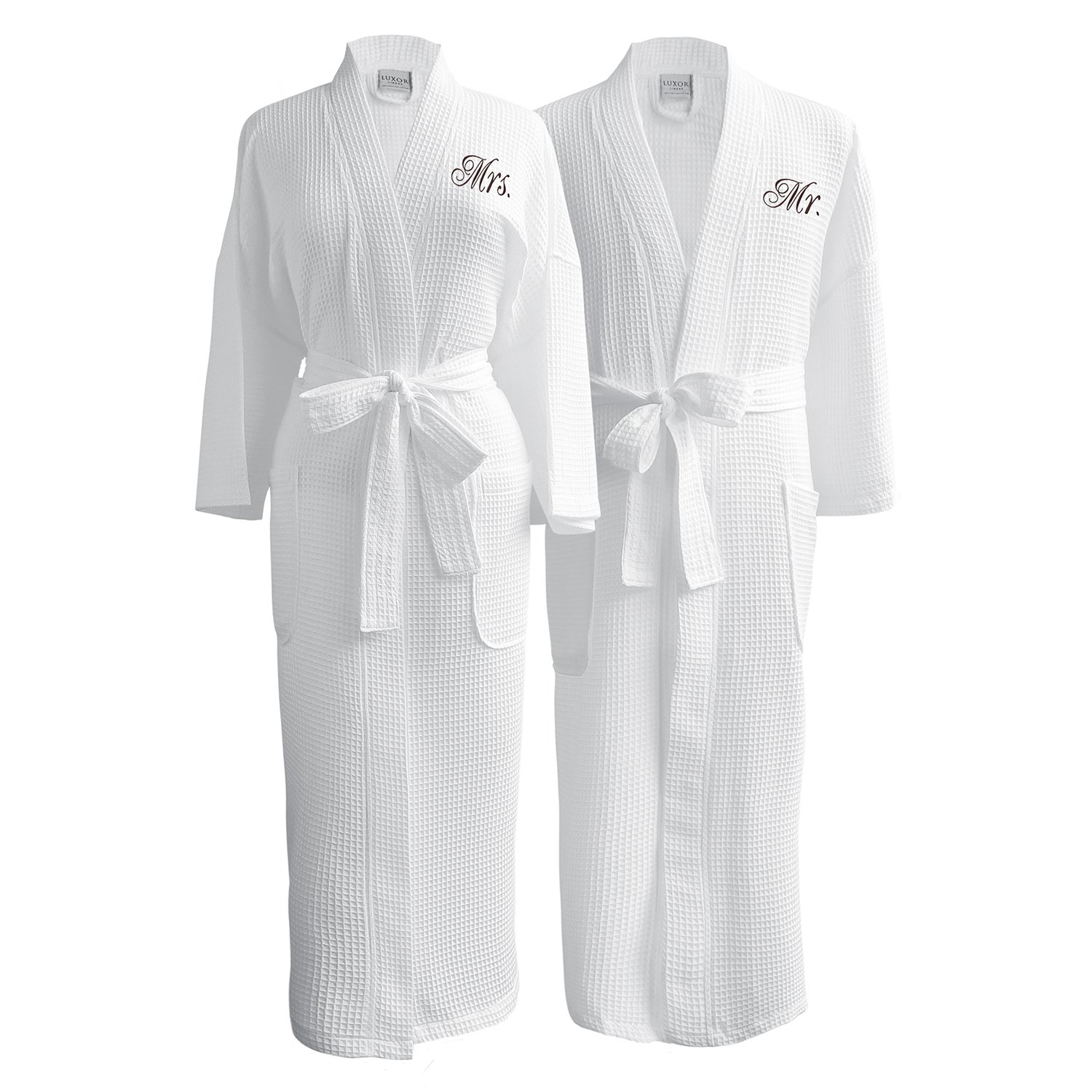 Caravalli Egyptian Cotton Waffle Robe, Spa Robe with Custom Embroidered Monogram