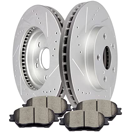 Amazon com: SCITOO Brake Kits, 2pcs Slotted Drilled Brake Discs