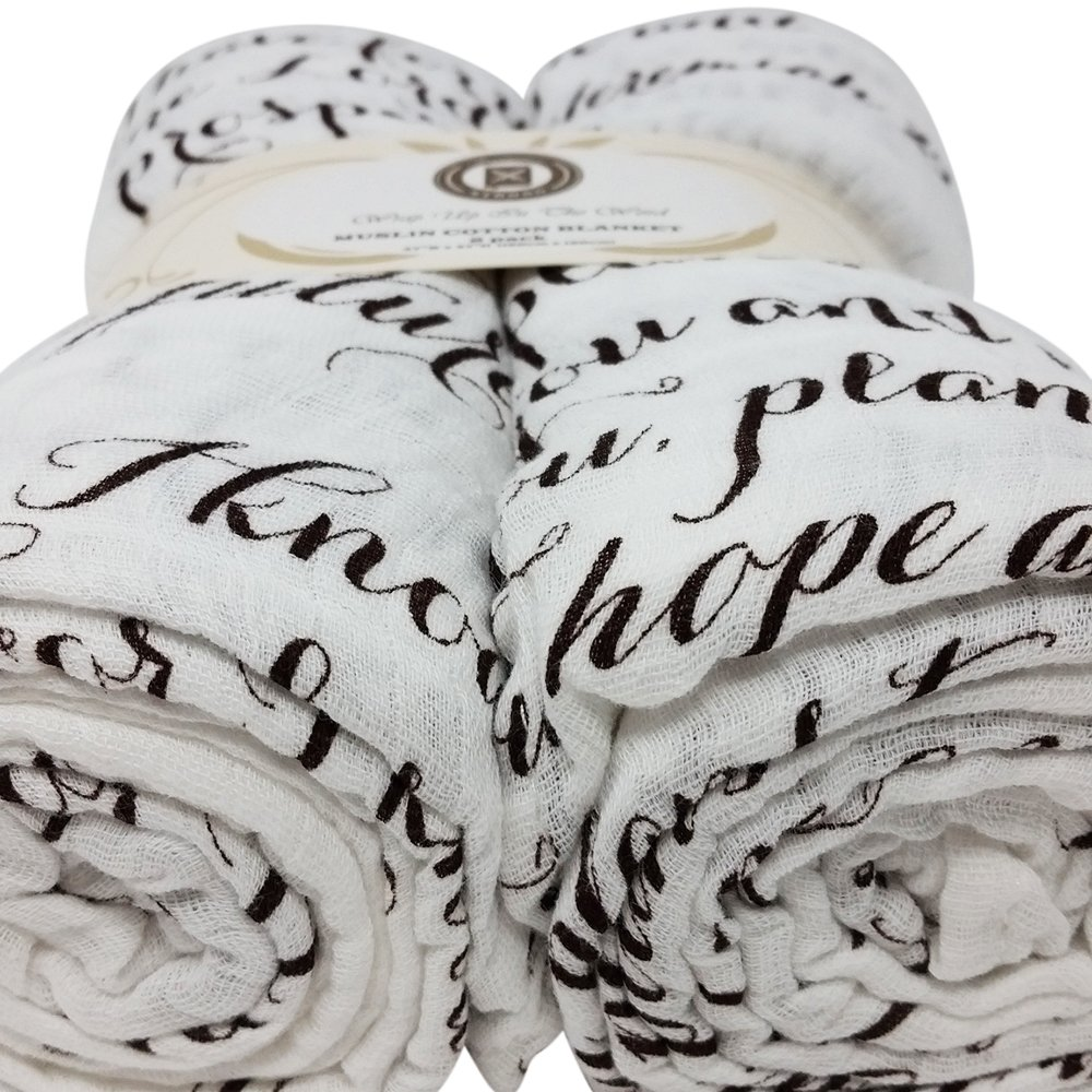 Scripture Strong Jeremiah 29:11 | Best Muslin Baby Swaddle Blanket Gift Set | 100% Cotton Receiving Blankets | Extra Large (4'x4') | Brown, 2 Pack