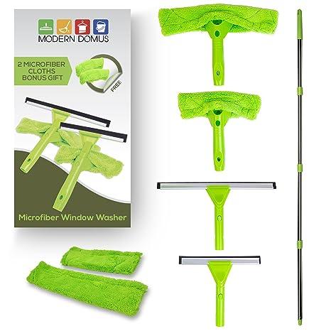 Kit de limpiacristales de microfibra – Herramienta de limpieza para ventanas con 5 en 1 acción