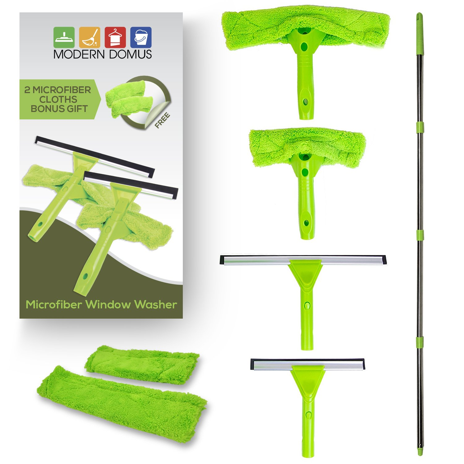 NeverEnding Reach Squeegee Window Cleaner Kit | Shower Squeegee, High Window Cleaning Tools, Car Windshield Tool and Doors - Indoor / Outdoor Washing Equipment with Extension Pole and 4 Washer Heads