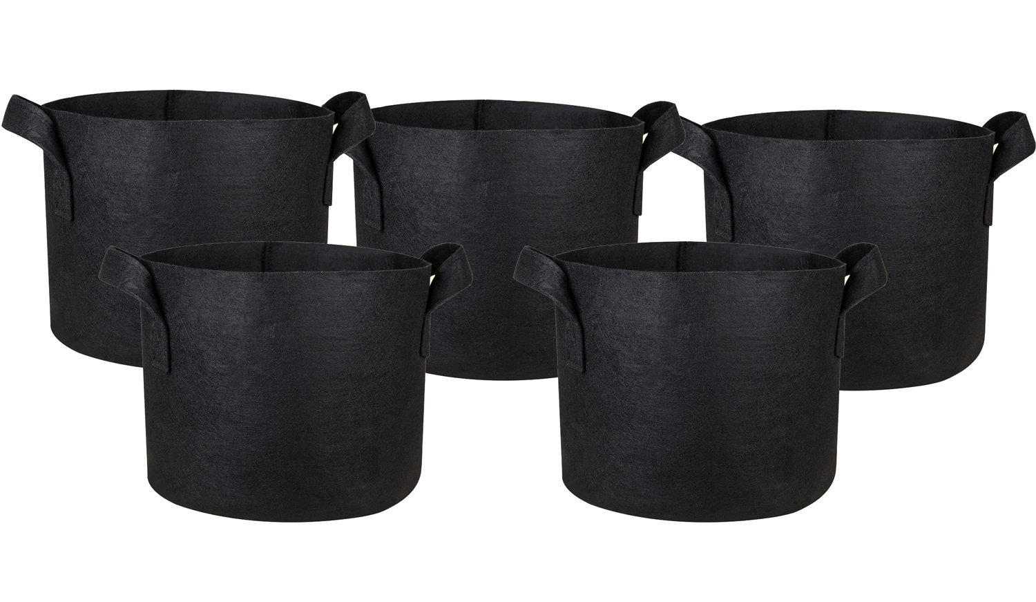 Hongville 5-Pack Grow Bags /Aeration Fabric Pots w/Handles (Black) (5-Gallons) by Hongville
