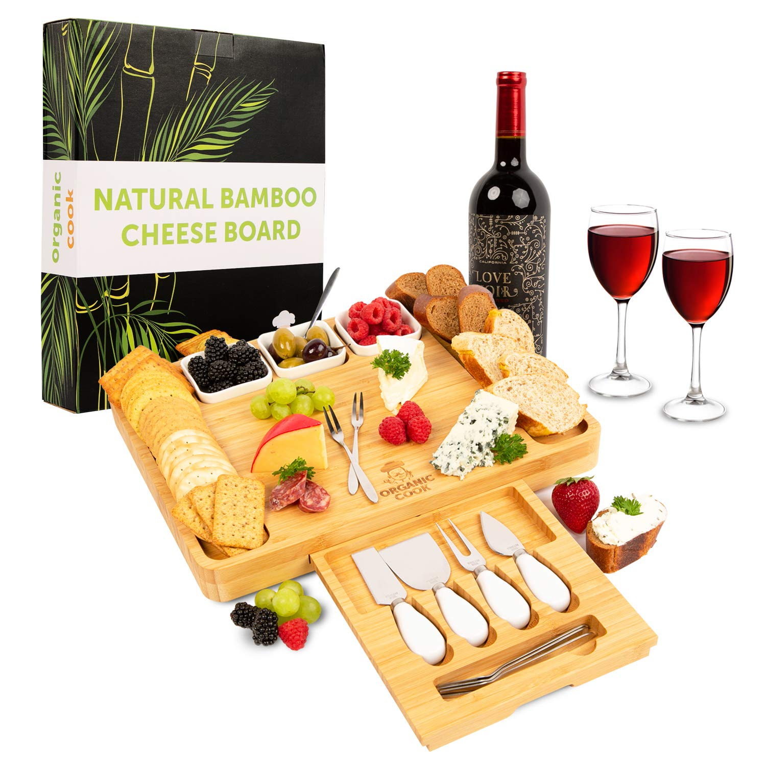 Cheese Board, Cheese Tray, Charcuterie Board: includes 4 Cheese Knives, 3 Ceramic Bowls, BONUS 6 Stainless Steel Forks, ideal Wedding Gifts, Wedding Gifts for the Couple by Organic Cook