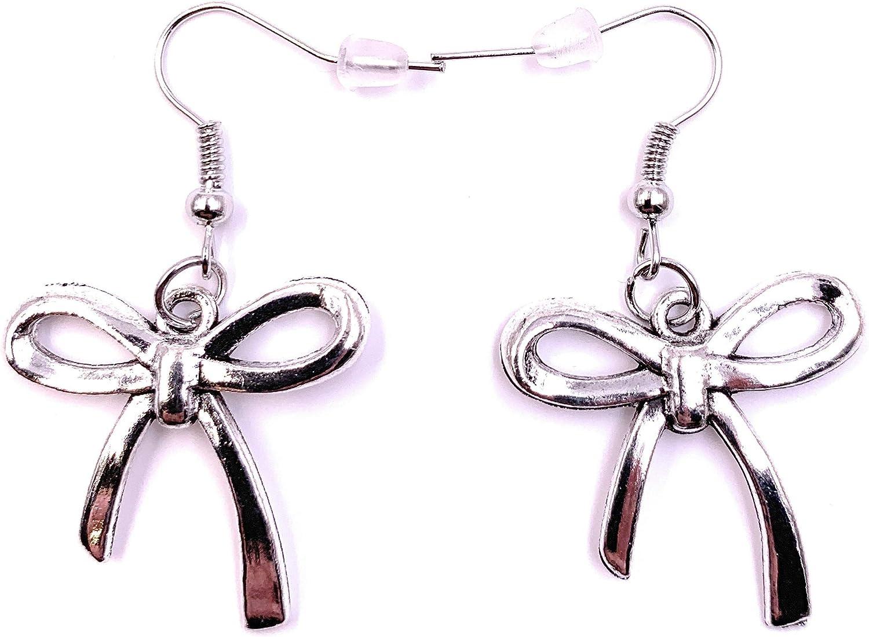 H-Customs Schleife Haarschleife Schlaufe Ohrringe Ohrschmuck Anh/änger Silber Metall