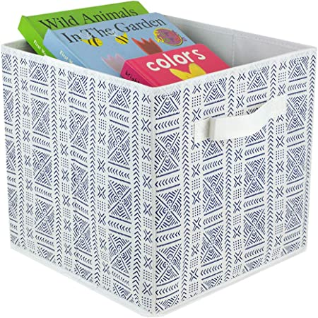 Amazon Com Home Basics O Aztec Non Woven Storage Bin Cube Basket Box Dual Handles Removable Bottoms Collapsible Foldable For Home Decor Office Closet Bedroom Drawer Toy Organizer Everyday Use Navy Bl Blue