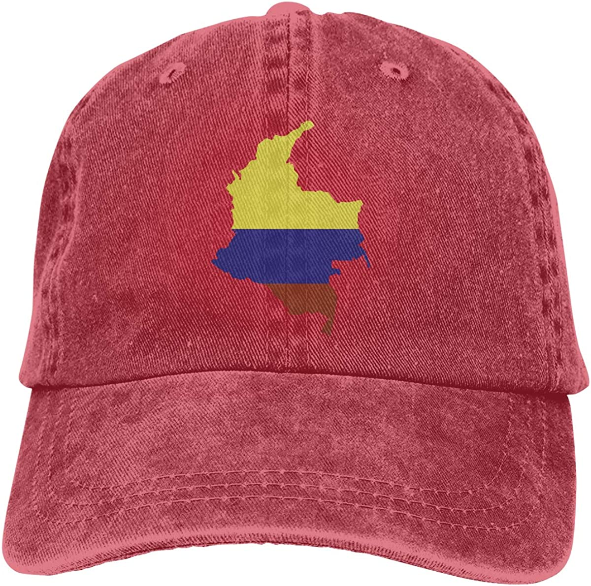 ASDGEGASFAS Baseball Cap Flag Map of Colombia Cotton Adjustable Peaked Dyed Cap Washed Cowboy Hat