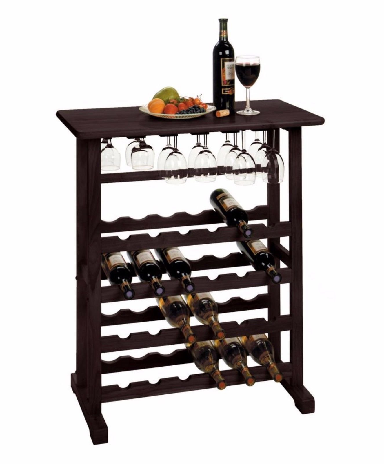Wood Wine Rack 24 Bottle Glass Hanger Espresso Holder Storage Shelf Display by RX-789 (Image #2)