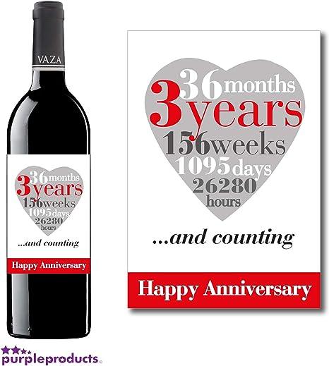 Anniversario Di Matrimonio 3 Anni.Purpleproducts 3rd Anniversario Di Matrimonio 3 Anni Wine Label