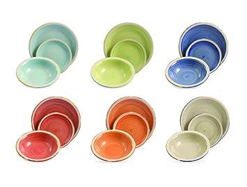 villa deste daily servizio piatti in gres multicolore set di 18 pezzi