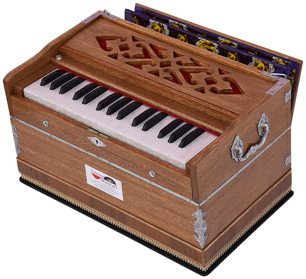 Harmonium Mini Magic By Kaayna Musicals, No Stop- 2¾ Octave, Teak Colour, Gig Bag, Bass/Male- 440 Hz, Best for Yoga, Bhajan, Kirtan, Shruti, Mantra, Meditation, Chant, etc. by Kaayna Musicals