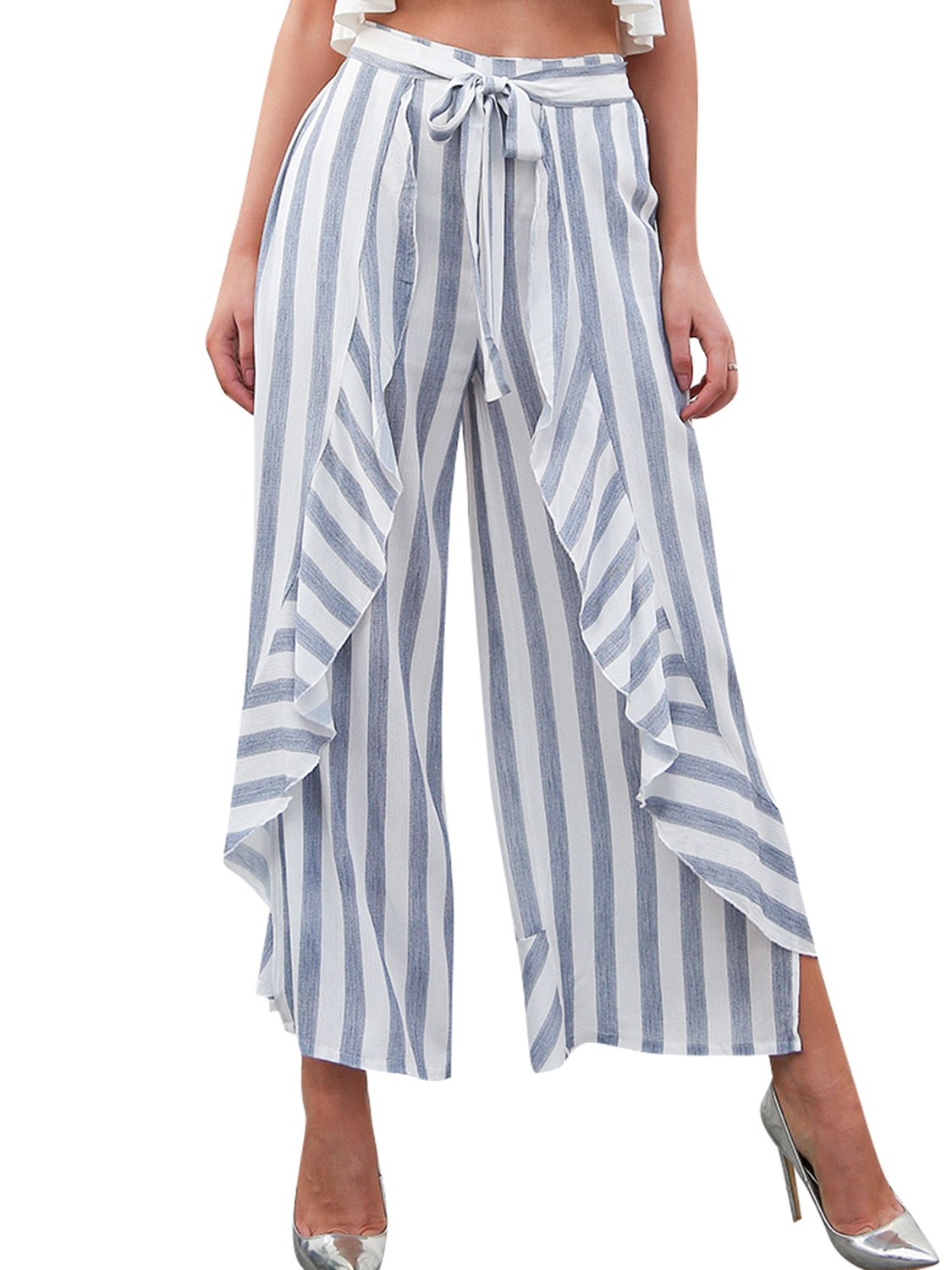 Simplee Women's Summer Casual Palazzo Pants Striped Loose Wide Leg Pants Light Blue US 10
