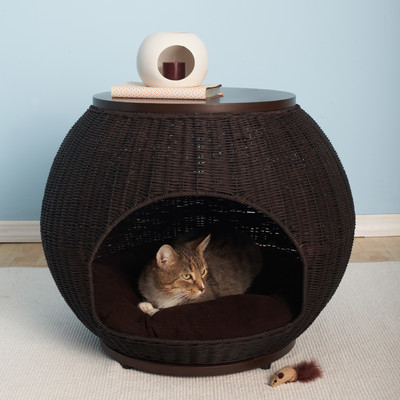 Latitude Run Deluxe Wicker End Table Cat Bed & Reviews | Wayfair