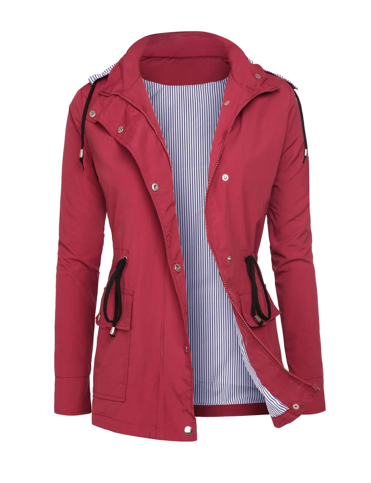 DOSWODE Raincoats Women Waterproof Rain Jackets Detachable Hooded Striped Lined Windbreaker for Women Red S by DOSWODE