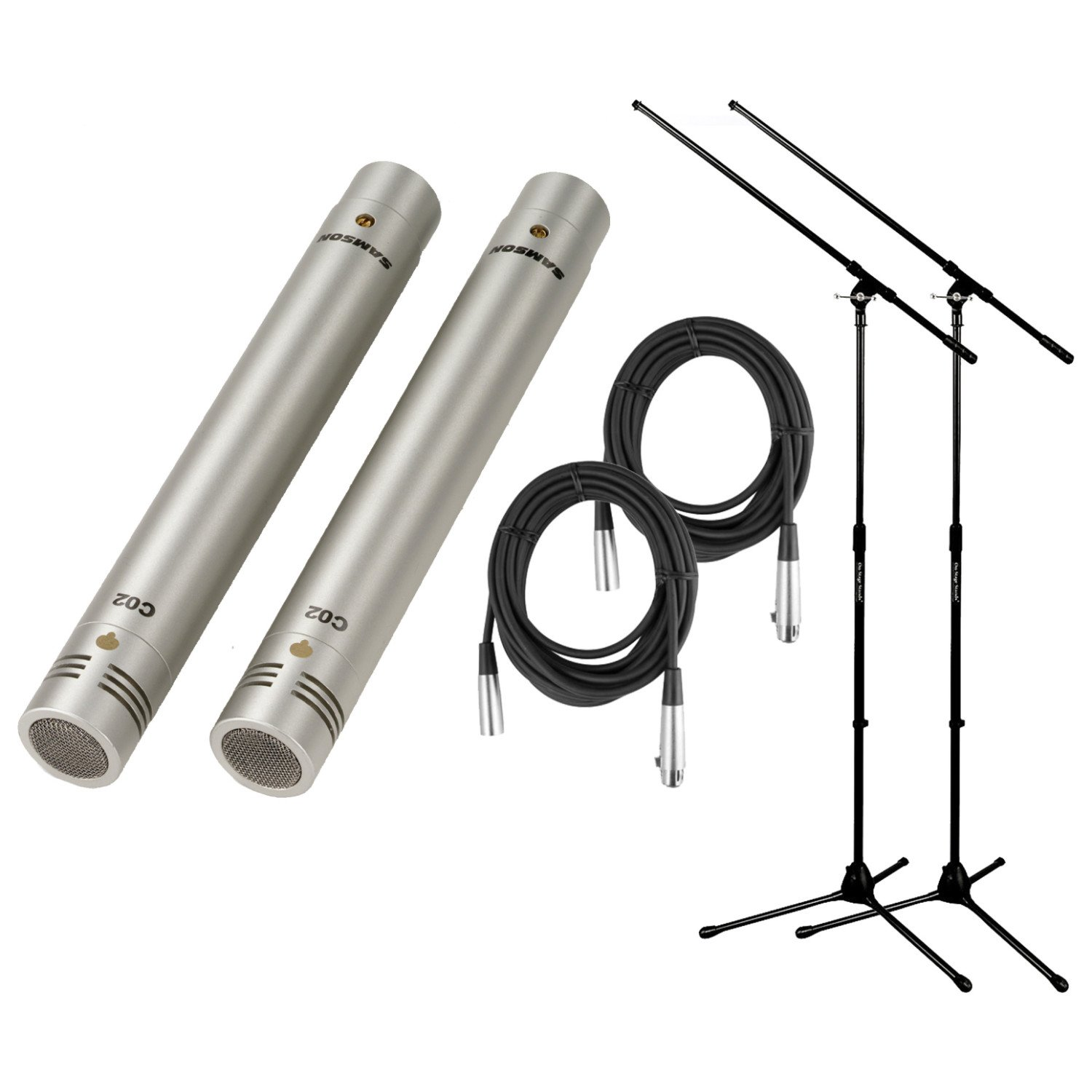 Samson C02 Pencil Condenser Microphone Pair Bundle w/Case, 2 20' XLR Mic Cables, and 2 Boom Stands