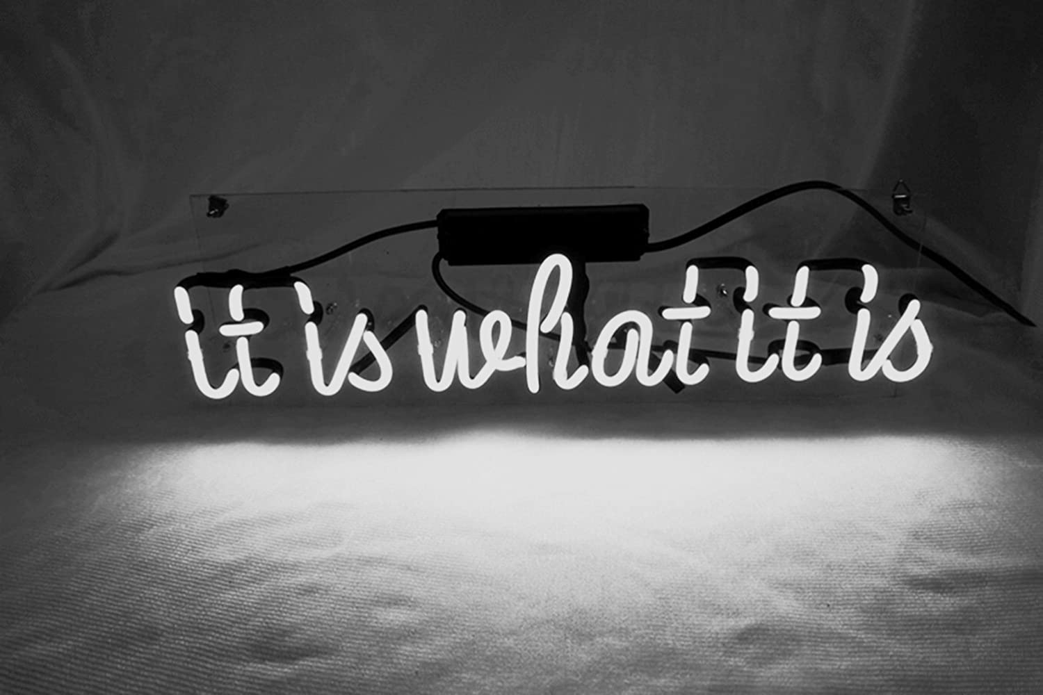 "Cool Neon Sign Decor 'It Is What It is' for Girls Bedroom Real Neon Signs for wall White Neon Room Lights Custom Neon Words for Home, Office, Studio, Apartment, Party, Christmas Decor 16.5""x 8"""