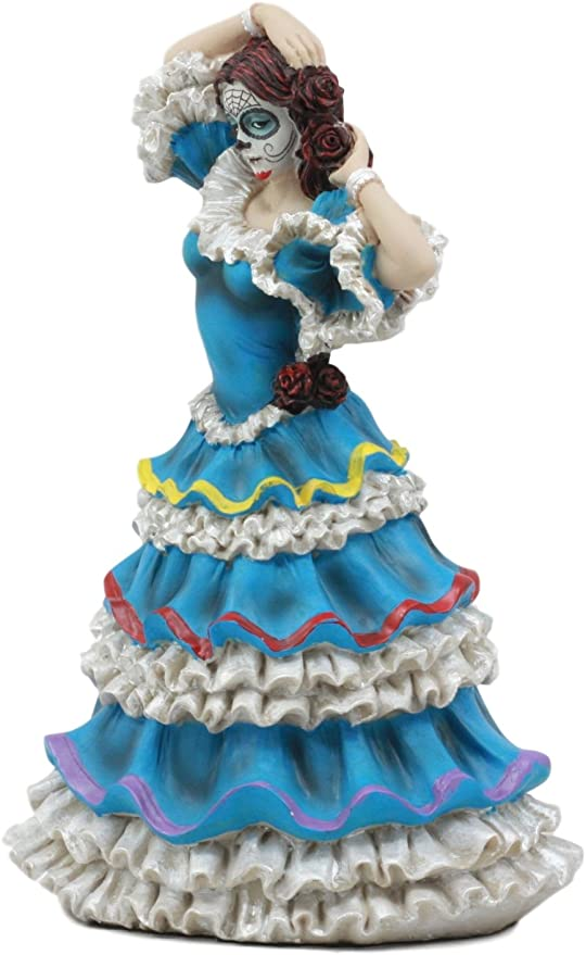 "Dia De Los Muertos Sugar Skull Sunburst Dancer Figurine Day Of The Dead 8/""H"