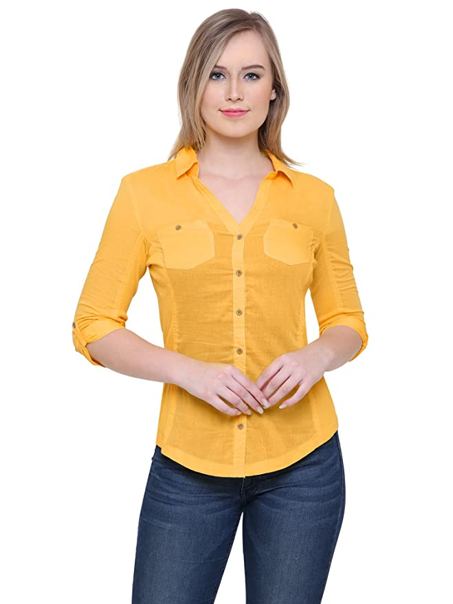 MansiCollections Yellow Solid Shirt for Women Shirts