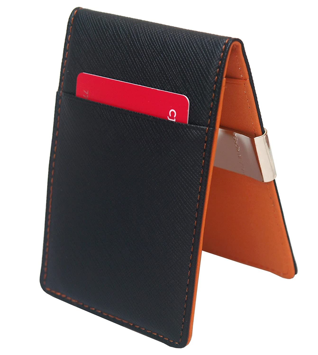 Amazon.com: New Faux Leather Metal Money Clip Mens Wallets Purse/ Black & Orange Colors: Clothing