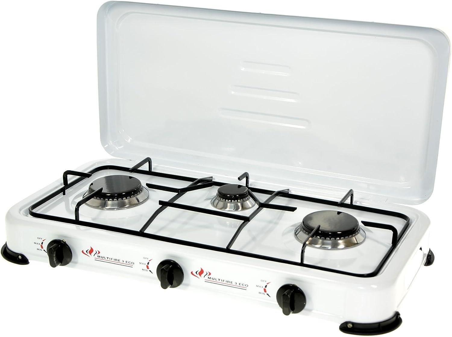 Hornillo de gas con 3 fuegos de cocina, cocina de camping, soporte para hornillo