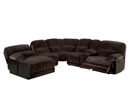 Furniture Of America Ladden Elephant Skin Microfiber Sectional Sofa With 2  Recliners, Dark Brown