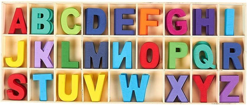 104PCS Wooden Mini Letter Alphabet Word For Kids Children DIY Craft Toys