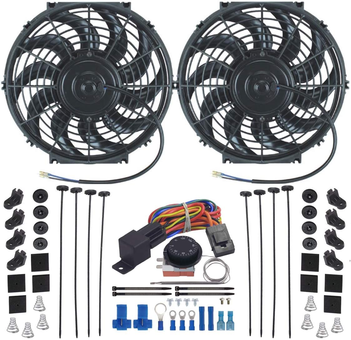 """American Volt Dual Reversible 12V Electric Engine Radiator Cooling Fan & Adjustable Thermostat Switch Kit (11"""" Inch)"""