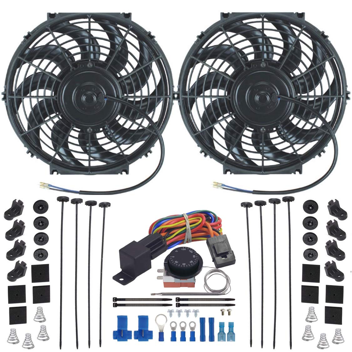 """American Volt Dual Reversible 12V Electric Engine Radiator Cooling Fan & Adjustable Thermostat Switch Kit (15"""" Inch)"""