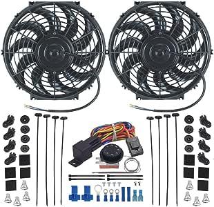 American Volt Dual Reversible 12V Motor eléctrico Radiador Ventilador de refrigeración y Ajustable termostato Switch Kit: Amazon.es: Coche y moto