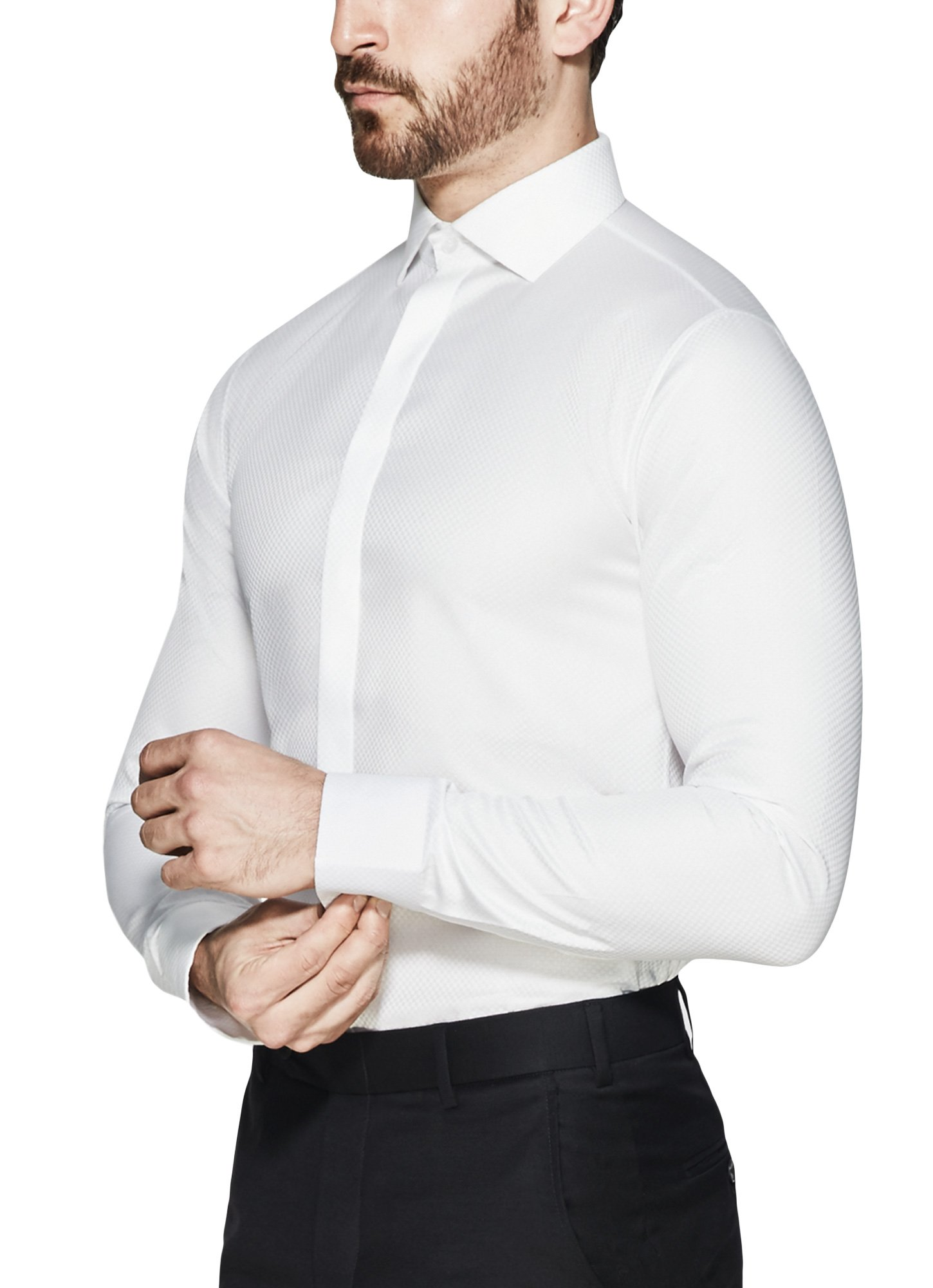 Vardama Men's Tuxedo White Shirt With Stain Proof Technology Columbus (Medium)