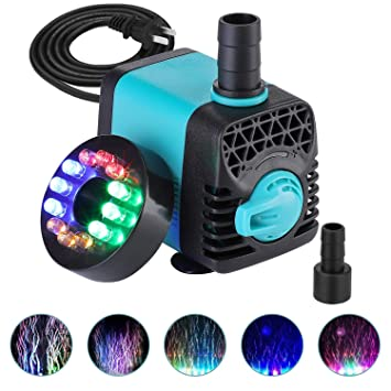 KEDSUM 130GPH Submersible Pump (600L/H,10W), Ultra Quiet Water Pump with 12  LED Colorful Lights, Fountain Pump with 3ft High Lift, 2 Nozzles for Fish