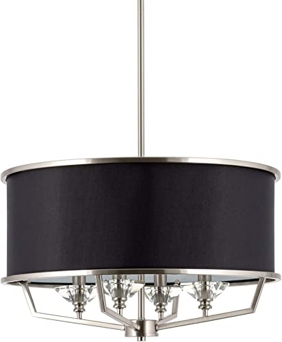 Kira Home Campbell 20 4-Light Modern Drum Chandelier Black Fabric Shade, Adjustable Height, Brushed Nickel Finish