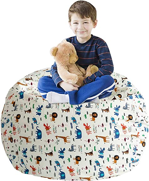 LAZY CALA LIFE Stuffed Animal Storage Bean Bag Chair Cover - Cover Only - Kids Soft Toy Storage Bean Bag, Stuffie Seat, Beanbag Chair, Extra Large 38 , for Organizing Kid's Room. Animals Print