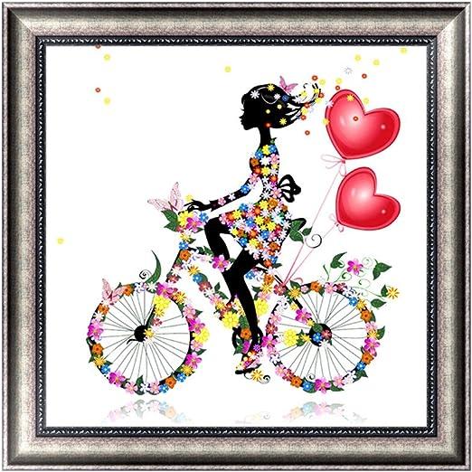 Hoxin niña con Bicicleta Bordado Pintura – 5d Lleno de Diamante ...
