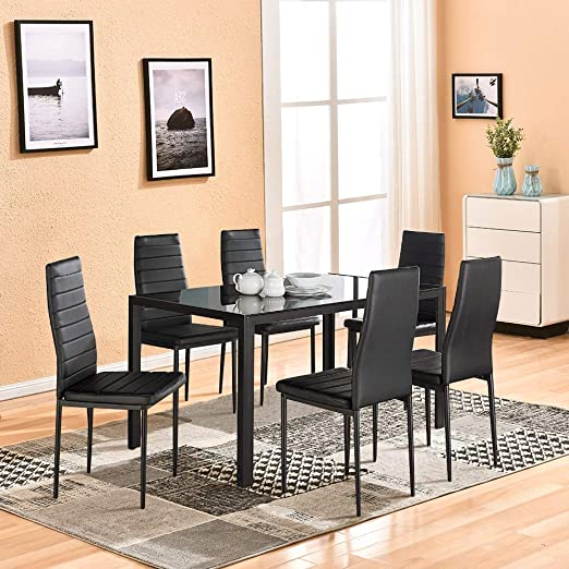 Dining Table with Chairs,4HOMART 7 PCS Glass Dining Kitchen Table Set  Modern Tempered Glass Top Table and PU Leather Chairs with 6 Chairs Dining  Room ...