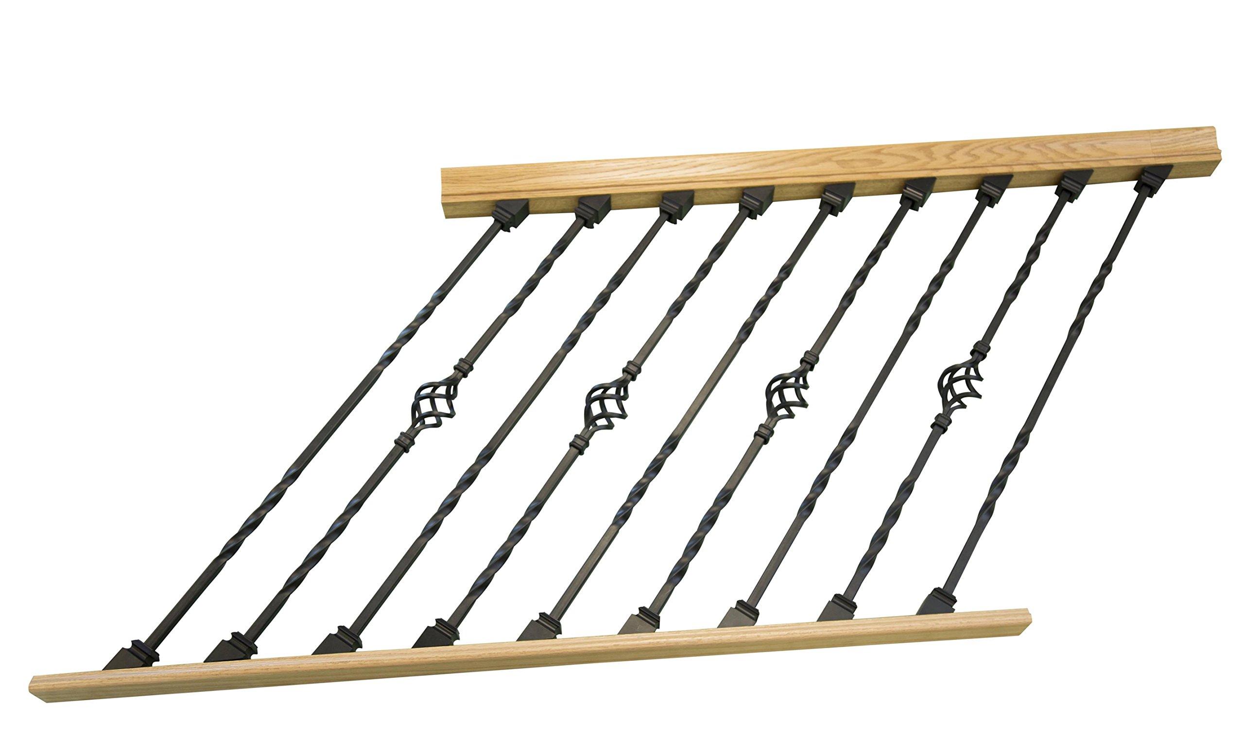 DIY Indoor Adjustable Angle Stair Rail Section with Black Metal Balusters (Double Twist, Single Basket) (Rake 6ft)