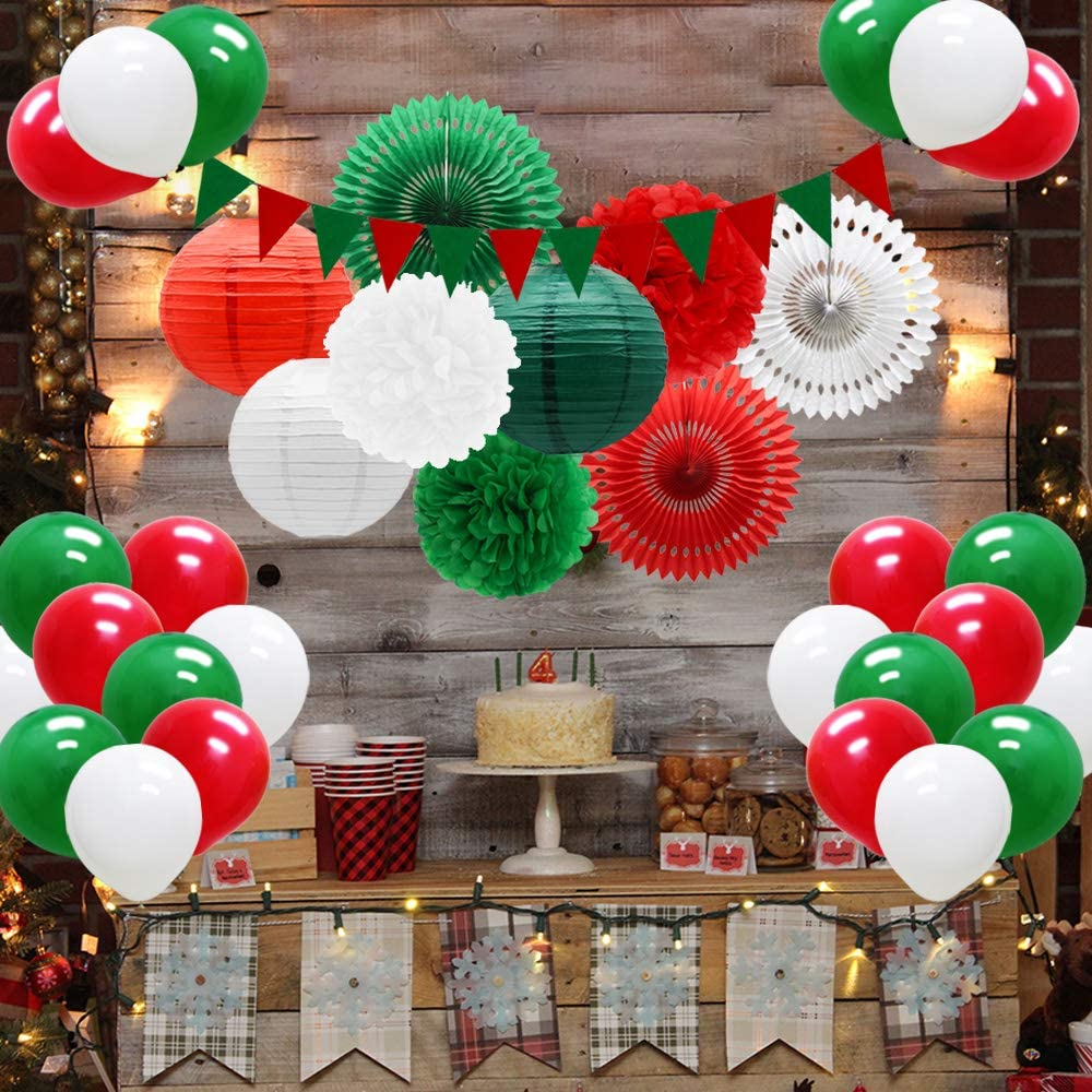 Meiduo Red Green White Christmas Fiesta Brands Mexican Italian Party Decorations Paper Fans Lanterns Flower Pom Poms Felt Pennant Balloons for Graduations St. Patrick's Day Birthday Baby Shower: Health & Personal Care