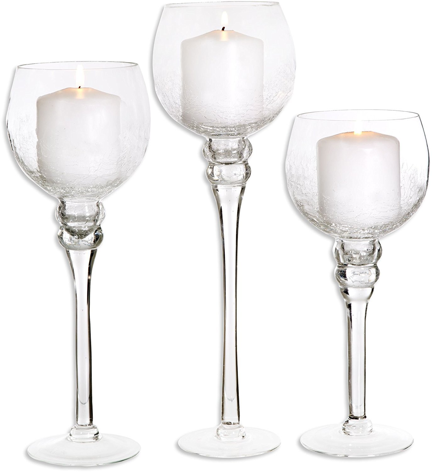 Amazon set of 3 crackle finished glass hurricane candle amazon set of 3 crackle finished glass hurricane candle holders decorative sphere ball candle holders home decor party centerpiece home reviewsmspy